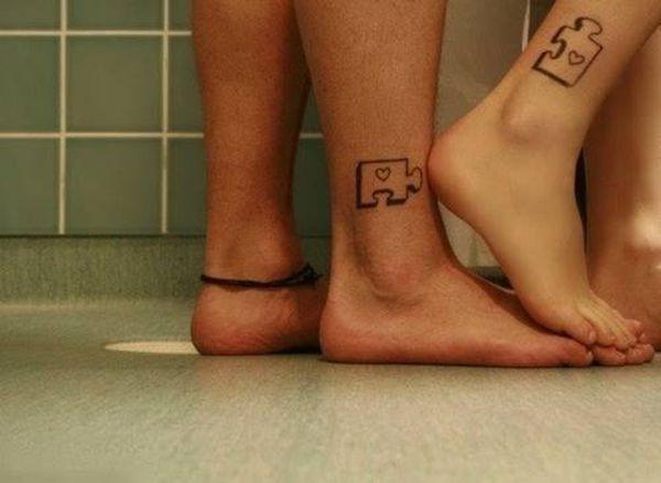 Тату на двоих на ноге