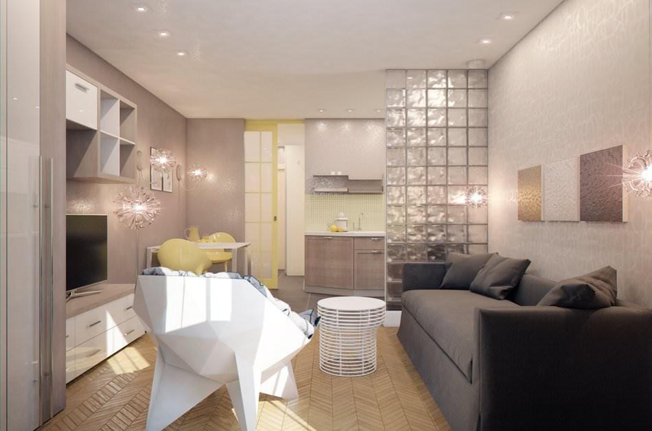 Дизайн интерьер студии 28 кв.м фото
